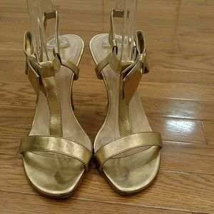 KATE SPADE METALLIC HEELS WITH BOW SZ 8